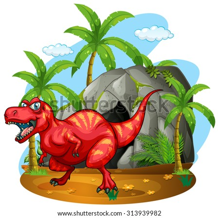 Dinosaur standing in front of the cave illustration - stock vector