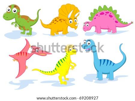 dinosaur vector set - stock vector