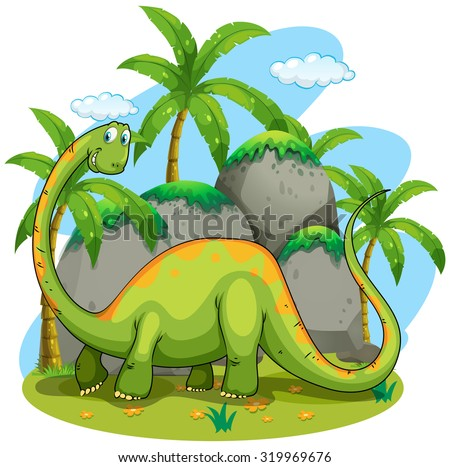Dinosaur with long neck illustration - stock vector
