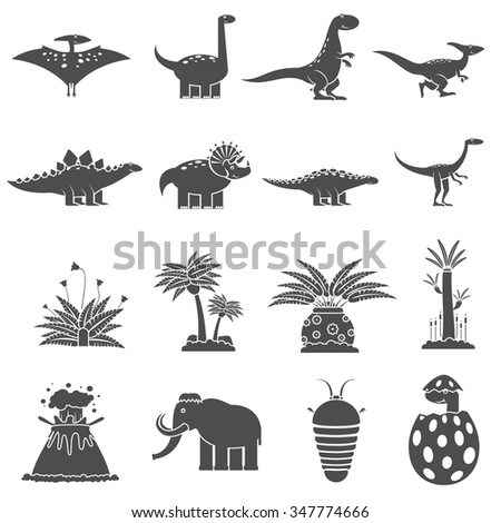 Dinosaurs and prehistoric nature black icons set isolated vector illustration - stock vector
