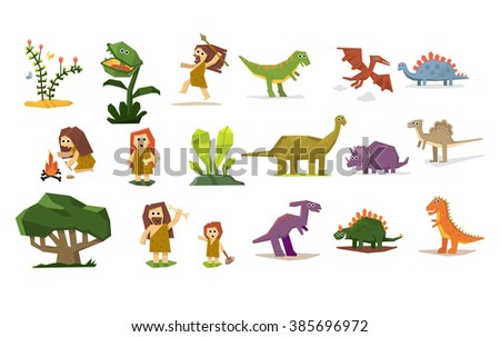 Dinosaurs and Prehistoric Plants and People, set Flat design Vector Illustration - stock vector