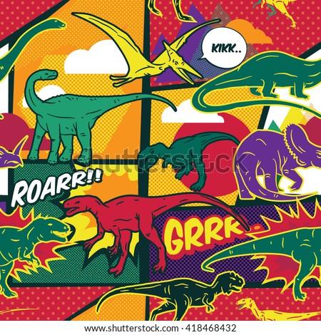 Dinosaurs comic pop art style seamless vector pattern - stock vector