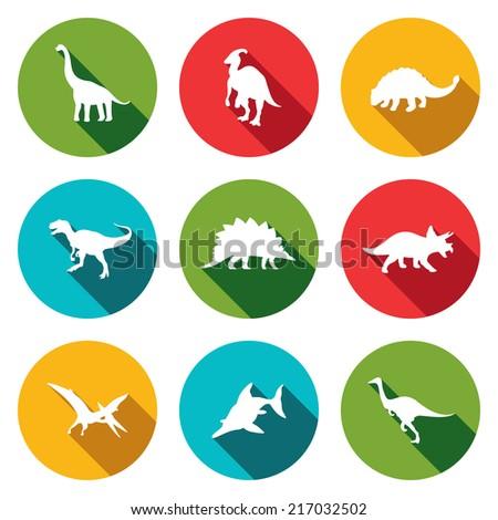 Dinosaurs flat icons set - stock vector