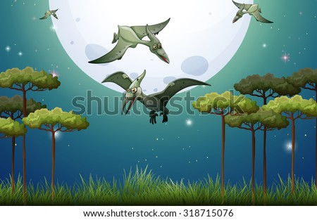 Dinosaurs flying on fullmoon night illustration - stock vector