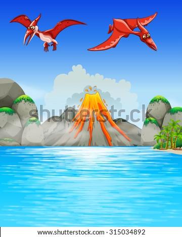 Dinosaurs flying over volcano illustration - stock vector