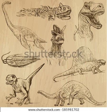 DINOSAURS -Life in prehistoric times (set no. 1) - Collection of an hand drawn illustrations. Description: Each drawing comprise of two layer of outlines, colored background is isolated. - stock vector