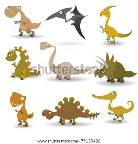 Dinosaurs set - stock vector