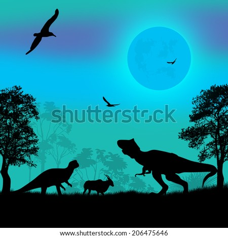 Dinosaurs silhouettes in beautiful blue landscape, vector illustration - stock vector