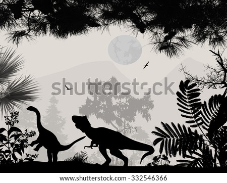 Dinosaurs silhouettes in beautiful landscape on white background, vector illustration - stock vector