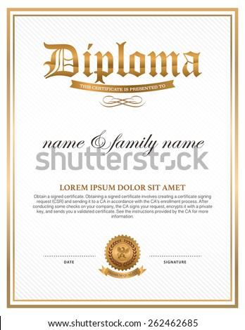 diploma certificate design template stock vector  diploma certificate design template