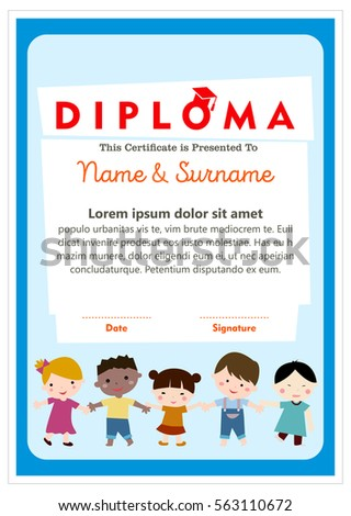 Diploma certificate layout template school preschool stock vector diploma certificate layout template for school preschool and kindergarten with handdrawn boys and girls yadclub Gallery