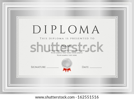 Diploma, Certificate of completion (design template, background) with silver frames. Diploma of Achievement, Winner Certificate (second place), Award - stock vector