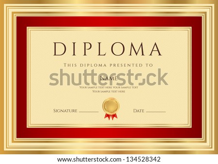 Diploma / Certificate template with guilloche pattern red and gold border. Background design usable for invitation, gift voucher, coupon, official or awards. Vector of first place with medal - stock vector