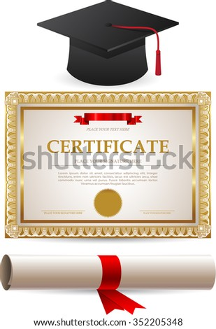 Diploma Gold Certificate Graduation Cap Isolated Stock Vector ...