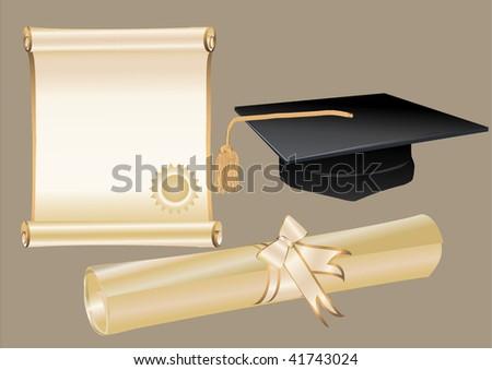 Diploma mortar and certificate - stock vector