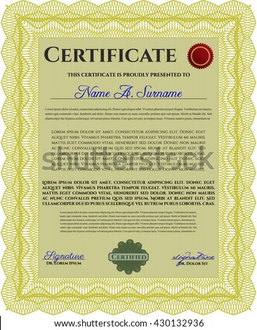 Diploma or certificate template. With complex background. Vector illustration. Lovely design. Yellow color.