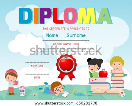 Diploma template for kids, Certificates kindergarten and elementary, Certificate of children diploma, vector illustration.