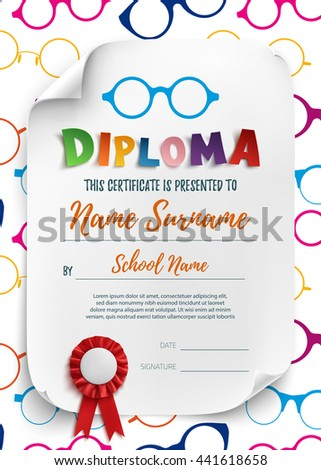 Diploma template kids school preschool playschool stock vector diploma template for kids school preschool playschool certificate background wit colorful reading yelopaper Image collections