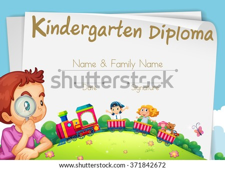 Diploma template for kindergarten students illustration