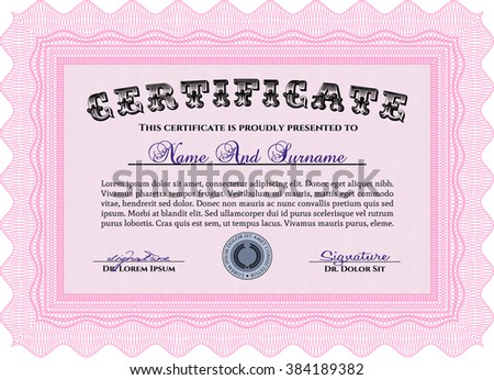 Diploma template or certificate template. Artistry design. Vector pattern that is used in money and certificate. With quality background. Pink color.