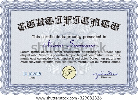 Blue Certificate Template Detailed Border Vector 143308225 – Money Certificate Template