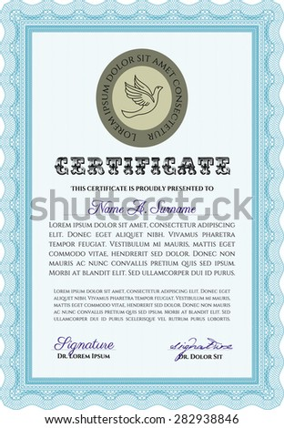 Diploma template. With background. Artistry design. Customizable, Easy to edit and change colors.