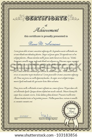 Diploma with vintage elements and stamp with ribbon - stock vector