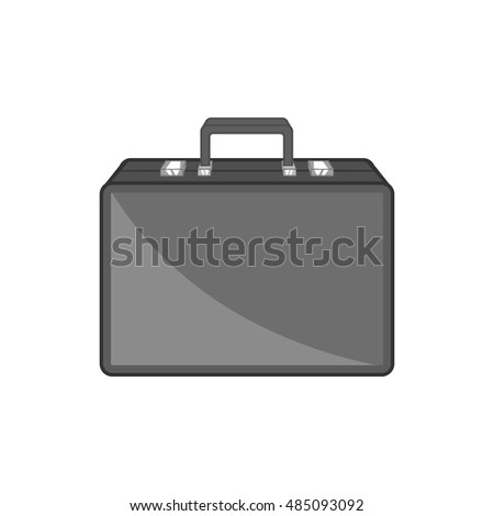 Diplomat icon in black monochrome style isolated on white background. Bag symbol vector illustration