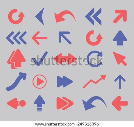direct, arrow, navigation icons, signs, illustrations set, vector