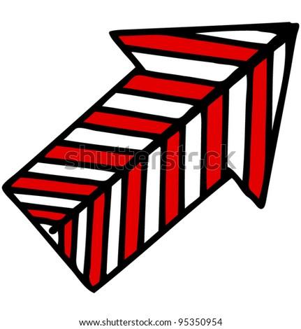Direction arrow. Hand drawing sketch vector icon - stock vector
