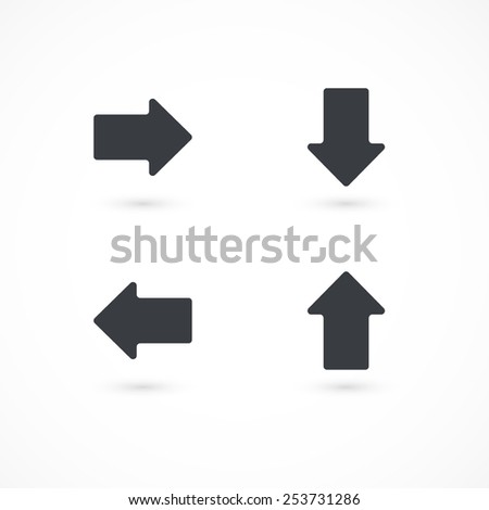 Direction arrow icon. Left, right, down, up - stock vector