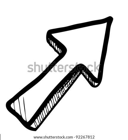 Direction arrow sketch vector illustration - stock vector