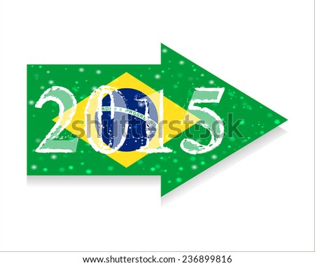 Direction 2015 New Year. Christmas. Infographics. Vector. Icon. flag of Brazil - stock vector