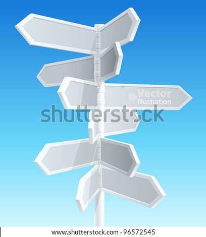 Direction road signs — arrows on blue sky. Vector illustration. - stock vector