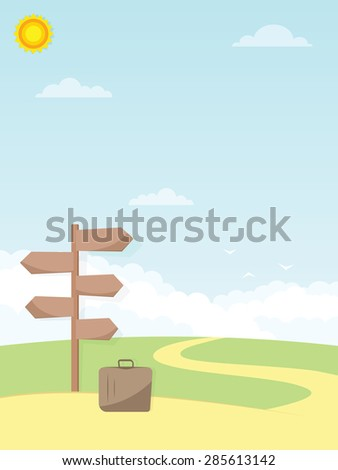 direction sign and luggage - stock vector