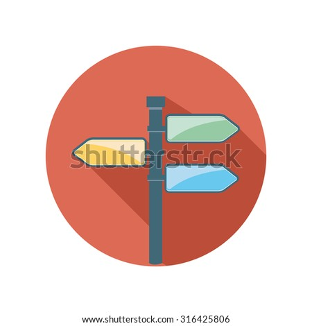 direction sign flat circle icon