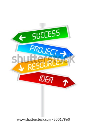 direction sign for success