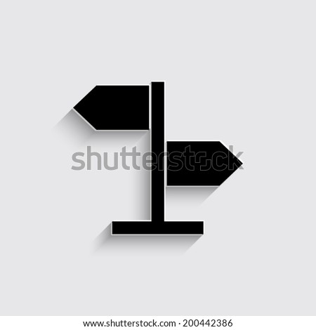 direction sign - vector icon on a grey background - stock vector