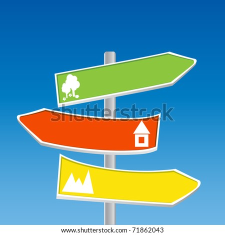 Direction Signs - mountain, forest, town - stock vector