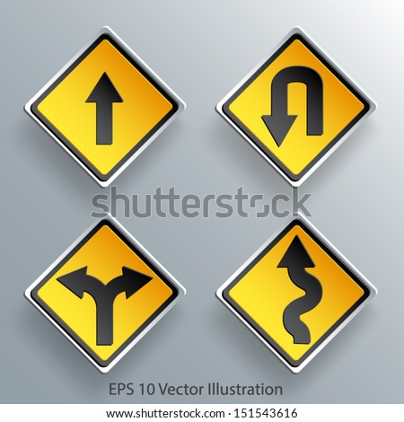 direction traffic sign 3d paper design eps 10 vector illustration - stock vector