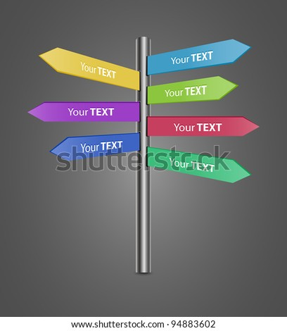 Directional Signs for your text, easy editable-vector - stock vector