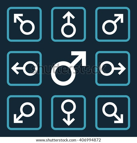 Directions vector bicolor icon. Image style is a flat icon symbol inside a square rounded frame, blue and white colors, dark blue background. - stock vector