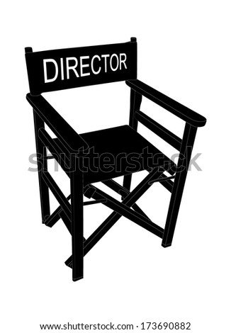 Director black chair vector isolated on white background.