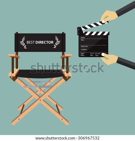 Director chair in flat design with movie clapperboard. Vector Illustration - stock vector