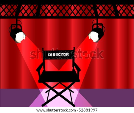 director's chair with curtains and lights - stock vector