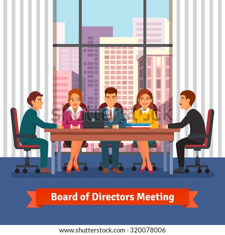 Directors board business meeting in a big conference room with big window on the top floor of skyscraper. People in chairs at the desk talking, brainstorming and negotiating. Flat vector illustration. - stock vector