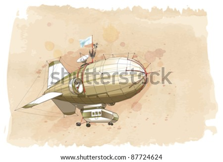 Dirigible balloon & watercolor vintage background. Vector illustration / Eps10 - stock vector
