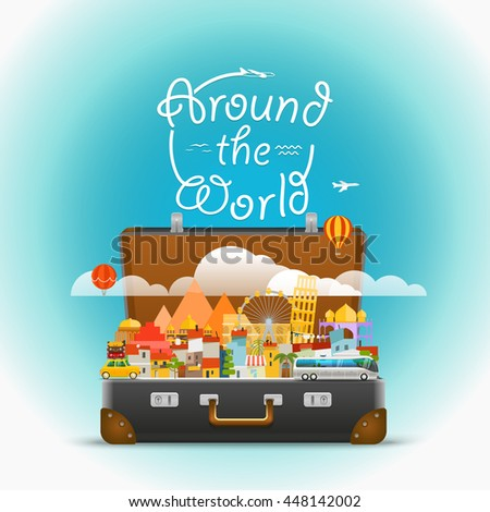 Dirrefent world famous sights. Vector travel illustration. Around the world concept - stock vector