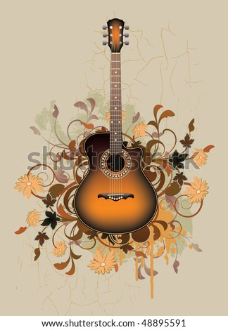Dirty abstract with orange acoustic guitar and floral elements - stock vector