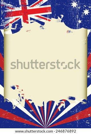Dirty Australian flag. A poster with a large scratched frame and a grunge australian flag for your publicity.  - stock vector